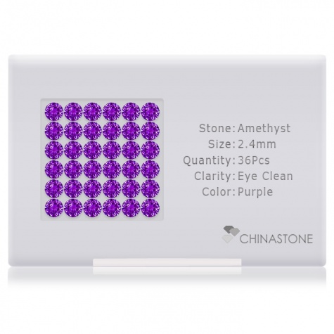 A perfectly calibrated lot of 36 high-precision cut natural amethyst gemstones, which are secured in a purpose-built box and accompanied by a Certificate of Authenticity. Each round shaped stone on average weighs 0.071 carat, measuring 2.4mm in length, 2.4mm in width and 1.56mm in depth, and features an exceptional brilliant cut and finish, along with an absolute minimum variance of color difference.