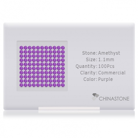 A perfectly calibrated lot of 100 high-precision cut natural amethyst gemstones, which are secured in a purpose-built box and accompanied by a Certificate of Authenticity. Each round shaped stone on average weighs 0.007 carat, measuring 1.1mm in length, 1.1mm in width and 0.715mm in depth, and features an exceptional brilliant cut and finish, along with an absolute minimum variance of color difference.