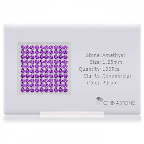 A perfectly calibrated lot of 100 high-precision cut natural amethyst gemstones, which are secured in a purpose-built box and accompanied by a Certificate of Authenticity. Each round shaped stone on average weighs 0.01 carat, measuring 1.25mm in length, 1.25mm in width and 0.813mm in depth, and features an exceptional brilliant cut and finish, along with an absolute minimum variance of color difference.