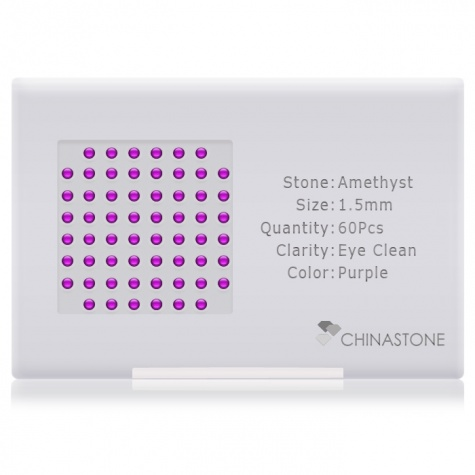 A perfectly calibrated lot of 60 high-precision cut natural amethyst gemstones, which are secured in a purpose-built box and accompanied by a Certificate of Authenticity. Each round shaped stone on average weighs 0.02 carat, measuring 1.5mm in length, 1.5mm in width and 0.975mm in depth, and features an exceptional cabochon cut and finish, along with an absolute minimum variance of color difference.