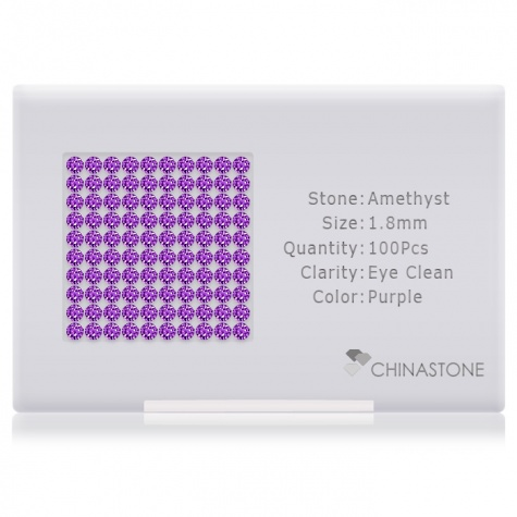 A perfectly calibrated lot of 100 high-precision cut natural amethyst gemstones, which are secured in a purpose-built box and accompanied by a Certificate of Authenticity. Each round shaped stone on average weighs 0.026 carat, measuring 1.8mm in length, 1.8mm in width and 1.17mm in depth, and features an exceptional brilliant cut and finish, along with an absolute minimum variance of color difference.