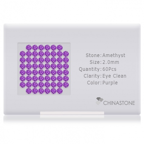 A perfectly calibrated lot of 60 high-precision cut natural amethyst gemstones, which are secured in a purpose-built box and accompanied by a Certificate of Authenticity. Each round shaped stone on average weighs 0.036 carat, measuring 2mm in length, 2mm in width and 1.3mm in depth, and features an exceptional brilliant cut and finish, along with an absolute minimum variance of color difference.