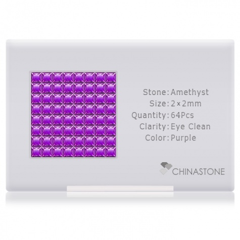 A perfectly calibrated lot of 64 high-precision cut natural amethyst gemstones, which are secured in a purpose-built box and accompanied by a Certificate of Authenticity. Each square shaped stone on average weighs 0.05 carat, measuring 2mm in length, 2mm in width and 1.36mm in depth, and features an exceptional princess cut and finish, along with an absolute minimum variance of color difference.