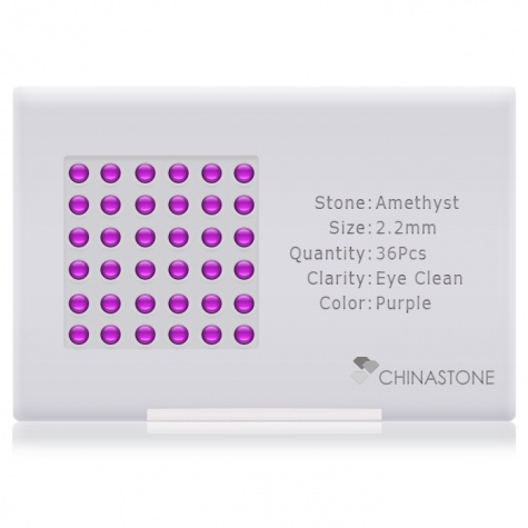 A perfectly calibrated lot of 36 high-precision cut natural amethyst gemstones, which are secured in a purpose-built box and accompanied by a Certificate of Authenticity. Each round shaped stone on average weighs 0.06 carat, measuring 2.2mm in length, 2.2mm in width and 1.43mm in depth, and features an exceptional cabochon cut and finish, along with an absolute minimum variance of color difference.