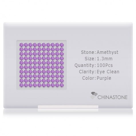 A perfectly calibrated lot of 100 high-precision cut natural amethyst gemstones, which are secured in a purpose-built box and accompanied by a Certificate of Authenticity. Each round shaped stone on average weighs 0.011 carat, measuring 1.3mm in length, 1.3mm in width and 0.845mm in depth, and features an exceptional brilliant cut and finish, along with an absolute minimum variance of color difference.
