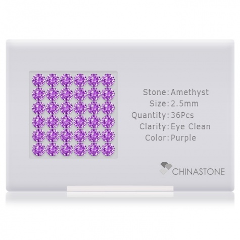 A perfectly calibrated lot of 36 high-precision cut natural amethyst gemstones, which are secured in a purpose-built box and accompanied by a Certificate of Authenticity. Each round shaped stone on average weighs 0.083 carat, measuring 2.5mm in length, 2.5mm in width and 1.62mm in depth, and features an exceptional brilliant cut and finish, along with an absolute minimum variance of color difference.