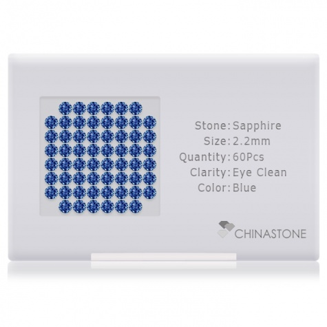A perfectly calibrated lot of 60 high-precision cut natural sapphire gemstones, which are secured in a purpose-built box and accompanied by a Certificate of Authenticity. Each round shaped stone on average weighs 0.056 carat, measuring 2.2mm in length, 2.2mm in width and 1.43mm in depth, and features an exceptional brilliant cut and finish, along with an absolute minimum variance of color difference.