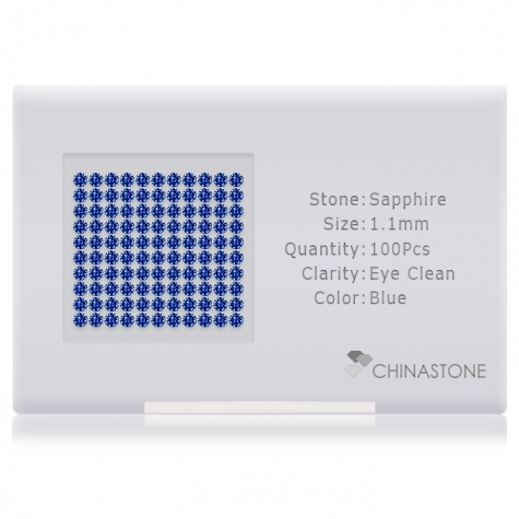 A perfectly calibrated lot of 100 high-precision cut natural sapphire gemstones, which are secured in a purpose-built box and accompanied by a Certificate of Authenticity. Each round shaped stone on average weighs 0.007 carat, measuring 1.1mm in length, 1.1mm in width and 0.71mm in depth, and features an exceptional brilliant cut and finish, along with an absolute minimum variance of color difference.