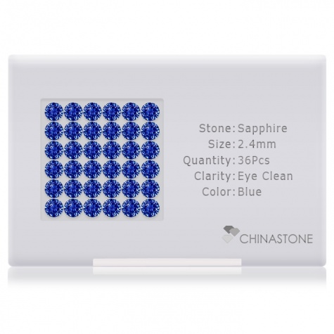 A perfectly calibrated lot of 36 high-precision cut natural sapphire gemstones, which are secured in a purpose-built box and accompanied by a Certificate of Authenticity. Each round shaped stone on average weighs 0.071 carat, measuring 2.4mm in length, 2.4mm in width and 1.56mm in depth, and features an exceptional brilliant cut and finish, along with an absolute minimum variance of color difference.