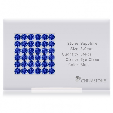 A perfectly calibrated lot of 36 high-precision cut natural sapphire gemstones, which are secured in a purpose-built box and accompanied by a Certificate of Authenticity. Each round shaped stone on average weighs 0.143 carat, measuring 3mm in length, 3mm in width and 1.95mm in depth, and features an exceptional brilliant cut and finish, along with an absolute minimum variance of color difference.