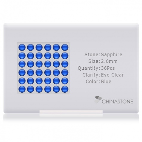 A perfectly calibrated lot of 36 high-precision cut natural sapphire gemstones, which are secured in a purpose-built box and accompanied by a Certificate of Authenticity. Each round shaped stone on average weighs 0.109 carat, measuring 2.6mm in length, 2.6mm in width and 1.69mm in depth, and features an exceptional cabochon cut and finish, along with an absolute minimum variance of color difference.