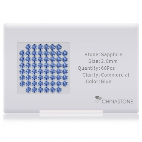 A perfectly calibrated lot of 60 high-precision cut natural sapphire gemstones, which are secured in a purpose-built box and accompanied by a Certificate of Authenticity. Each round shaped stone on average weighs 0.036 carat, measuring 2mm in length, 2mm in width and 1.3mm in depth, and features an exceptional brilliant cut and finish, along with an absolute minimum variance of color difference.