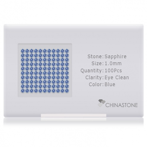 A perfectly calibrated lot of 100 high-precision cut natural sapphire gemstones, which are secured in a purpose-built box and accompanied by a Certificate of Authenticity. Each round shaped stone on average weighs 0.006 carat, measuring 1mm in length, 1mm in width and 0.65mm in depth, and features an exceptional brilliant cut and finish, along with an absolute minimum variance of color difference.