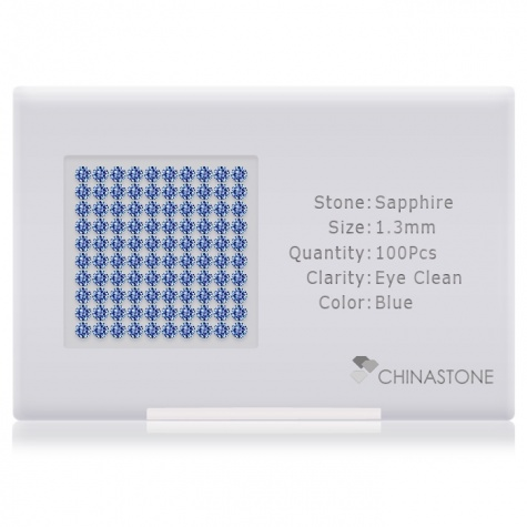 A perfectly calibrated lot of 100 high-precision cut natural sapphire gemstones, which are secured in a purpose-built box and accompanied by a Certificate of Authenticity. Each round shaped stone on average weighs 0.011 carat, measuring 1.3mm in length, 1.3mm in width and 0.845mm in depth, and features an exceptional brilliant cut and finish, along with an absolute minimum variance of color difference.