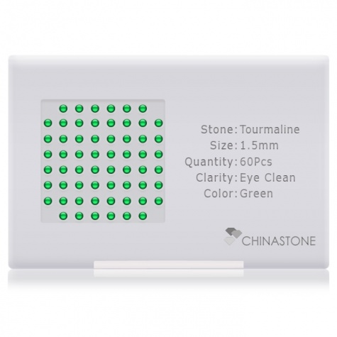 A perfectly calibrated lot of 60 high-precision cut natural chrome-tourmaline gemstones, which are secured in a purpose-built box and accompanied by a Certificate of Authenticity. Each round shaped stone on average weighs 0.02 carat, measuring 1.5mm in length, 1.5mm in width and 0.975mm in depth, and features an exceptional cabochon cut and finish, along with an absolute minimum variance of color difference.