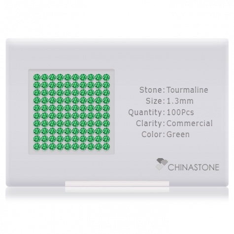 A perfectly calibrated lot of 100 high-precision cut natural chrome-tourmaline gemstones, which are secured in a purpose-built box and accompanied by a Certificate of Authenticity. Each round shaped stone on average weighs 0.011 carat, measuring 1.3mm in length, 1.3mm in width and 0.84mm in depth, and features an exceptional brilliant cut and finish, along with an absolute minimum variance of color difference.