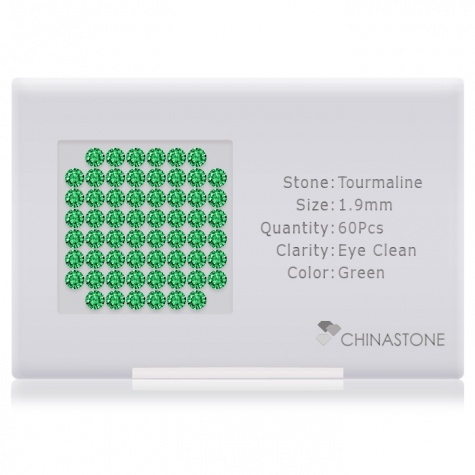 A perfectly calibrated lot of 60 high-precision cut natural chrome-tourmaline gemstones, which are secured in a purpose-built box and accompanied by a Certificate of Authenticity. Each round shaped stone on average weighs 0.031 carat, measuring 1.9mm in length, 1.9mm in width and 1.235mm in depth, and features an exceptional brilliant cut and finish, along with an absolute minimum variance of color difference.