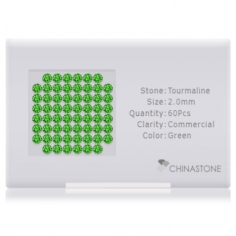A perfectly calibrated lot of 60 high-precision cut natural chrome-tourmaline gemstones, which are secured in a purpose-built box and accompanied by a Certificate of Authenticity. Each round shaped stone on average weighs 0.036 carat, measuring 2mm in length, 2mm in width and 1.3mm in depth, and features an exceptional brilliant cut and finish, along with an absolute minimum variance of color difference.
