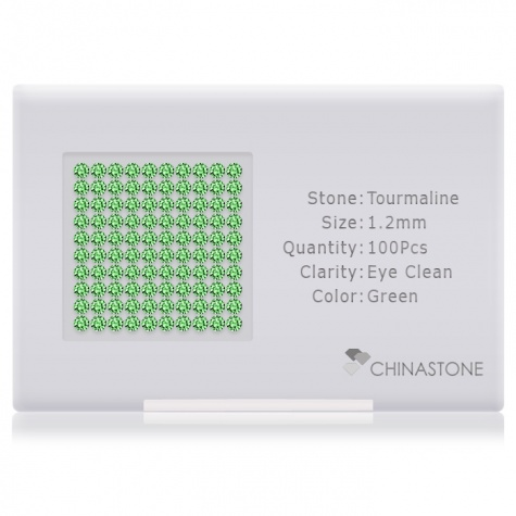 A perfectly calibrated lot of 100 high-precision cut natural chrome-tourmaline gemstones, which are secured in a purpose-built box and accompanied by a Certificate of Authenticity. Each round shaped stone on average weighs 0.01 carat, measuring 1.2mm in length, 1.2mm in width and 0.78mm in depth, and features an exceptional brilliant cut and finish, along with an absolute minimum variance of color difference.