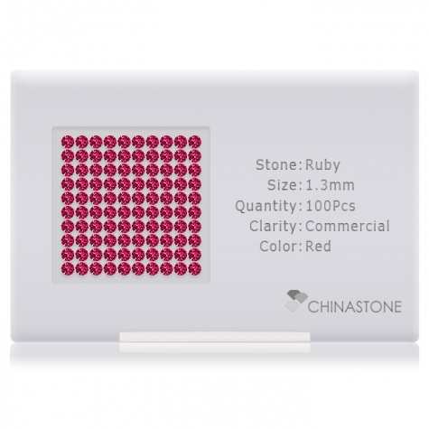 A perfectly calibrated lot of 100 high-precision cut natural ruby gemstones, which are secured in a purpose-built box and accompanied by a Certificate of Authenticity. Each round shaped stone on average weighs 0.011 carat, measuring 1.3mm in length, 1.3mm in width and 0.84mm in depth, and features an exceptional brilliant cut and finish, along with an absolute minimum variance of color difference.