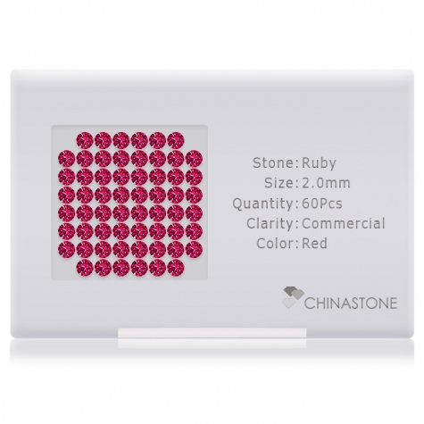 A perfectly calibrated lot of 60 high-precision cut natural ruby gemstones, which are secured in a purpose-built box and accompanied by a Certificate of Authenticity. Each round shaped stone on average weighs 0.036 carat, measuring 2mm in length, 2mm in width and 1.3mm in depth, and features an exceptional brilliant cut and finish, along with an absolute minimum variance of color difference.
