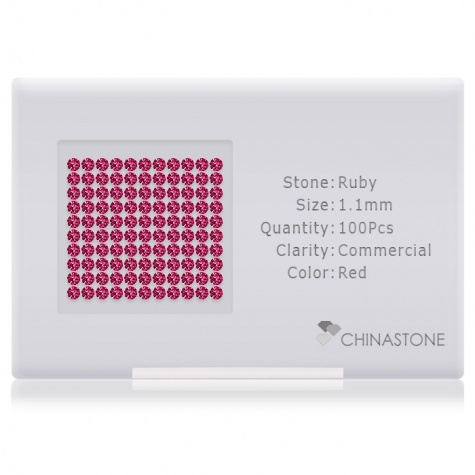 A perfectly calibrated lot of 100 high-precision cut natural ruby gemstones, which are secured in a purpose-built box and accompanied by a Certificate of Authenticity. Each round shaped stone on average weighs 0.007 carat, measuring 1.1mm in length, 1.1mm in width and 0.715mm in depth, and features an exceptional brilliant cut and finish, along with an absolute minimum variance of color difference.