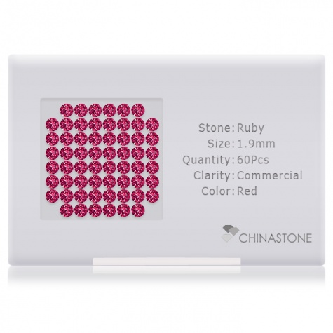 A perfectly calibrated lot of 60 high-precision cut natural ruby gemstones, which are secured in a purpose-built box and accompanied by a Certificate of Authenticity. Each round shaped stone on average weighs 0.031 carat, measuring 1.9mm in length, 1.9mm in width and 1.235mm in depth, and features an exceptional brilliant cut and finish, along with an absolute minimum variance of color difference.