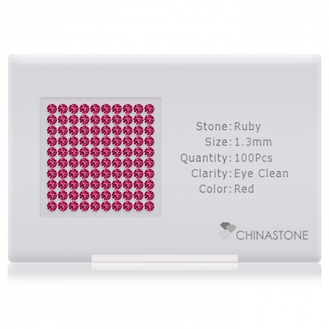 A perfectly calibrated lot of 100 high-precision cut natural ruby gemstones, which are secured in a purpose-built box and accompanied by a Certificate of Authenticity. Each round shaped stone on average weighs 0.011 carat, measuring 1.3mm in length, 1.3mm in width and 0.845mm in depth, and features an exceptional brilliant cut and finish, along with an absolute minimum variance of color difference.