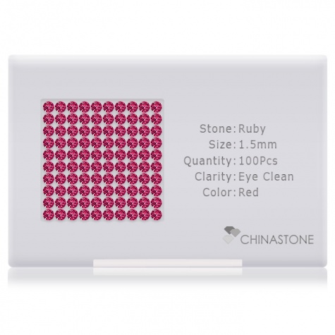 A perfectly calibrated lot of 100 high-precision cut natural ruby gemstones, which are secured in a purpose-built box and accompanied by a Certificate of Authenticity. Each round shaped stone on average weighs 0.015 carat, measuring 1.5mm in length, 1.5mm in width and 0.975mm in depth, and features an exceptional brilliant cut and finish, along with an absolute minimum variance of color difference.