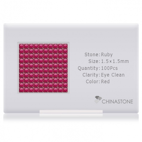 A perfectly calibrated lot of 100 high-precision cut natural ruby gemstones, which are secured in a purpose-built box and accompanied by a Certificate of Authenticity. Each square shaped stone on average weighs 0.02 carat, measuring 1.5mm in length, 1.5mm in width and 1.02mm in depth, and features an exceptional princess cut and finish, along with an absolute minimum variance of color difference.