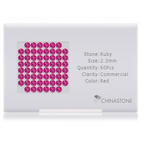 A perfectly calibrated lot of 60 high-precision cut natural ruby gemstones, which are secured in a purpose-built box and accompanied by a Certificate of Authenticity. Each round shaped stone on average weighs 0.063 carat, measuring 2.3mm in length, 2.3mm in width and 1.5mm in depth, and features an exceptional brilliant cut and finish, along with an absolute minimum variance of color difference.