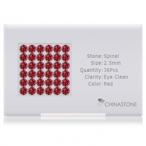 A perfectly calibrated lot of 36 high-precision cut natural spinel gemstones, which are secured in a purpose-built box and accompanied by a Certificate of Authenticity. Each round shaped stone on average weighs 0.083 carat, measuring 2.5mm in length, 2.5mm in width and 1.6mm in depth, and features an exceptional brilliant cut and finish, along with an absolute minimum variance of color difference.